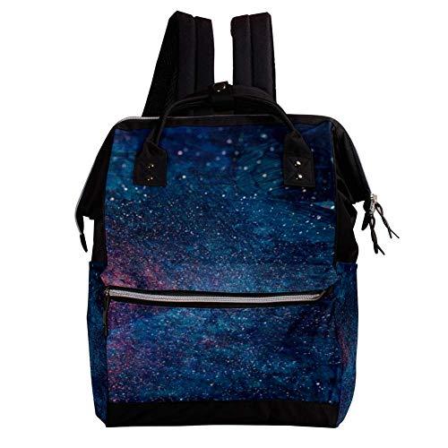 TIZORAX Rucksack, Blau und Rot, Galaxie Artwork Rucksack, Wickeltasche, lässiger Tagesrucksack, Schultasche, für Reisen, Camping, große Kapazität