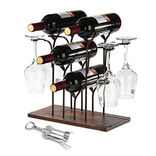 Wine Racks Countertop, Hold 4 Bottles Wine and 4 Wine Glasses, 2 in 1 Wine Glass Holder and Storage, with Opener, for Home Decor & Kitchen Storage Rack, Bar, Wine Party, Made in Wood & Metal Shelf
