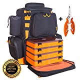 etacklepro Fishing Backpack | Waterproof Tackle Bag with Protective Rain Cover | Includes 4 Tackle Boxes | Stainless Steel Fishing Pliers and Lanyard (Black | Orange)