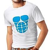 Camisetas Hombre para su Crecimiento del músculo - Camisetas Divertidas del Entrenamiento (Large Blanco Azul)