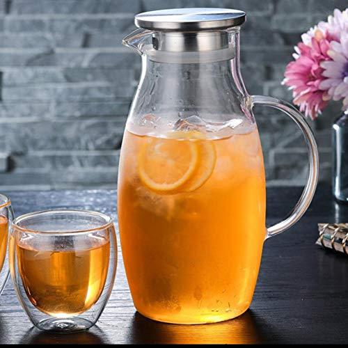 Glazen karaf (1500ml) glazen pot van borosilicaatglas waterkan met roestvrij stalen deksel karaf glazen kan