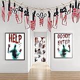 Ymenow Etiqueta engomada de la ventana del terror, bandera de la guirnalda del arma, decoración de la fiesta de Halloween suministros casa garaje asilo accesorios