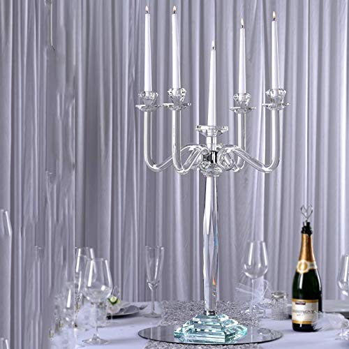 Efavormart 27' Tall Handcrafted Gem Cut 5 Arm Crystal Modern Glass Candelabra Candle Holder Wedding Centerpiece