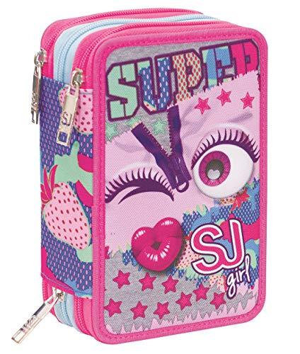 Astuccio 3 Scomparti SJ Gang, Facce da SJ, Rosa, Completo di penne, matite colorate, pennarelli…
