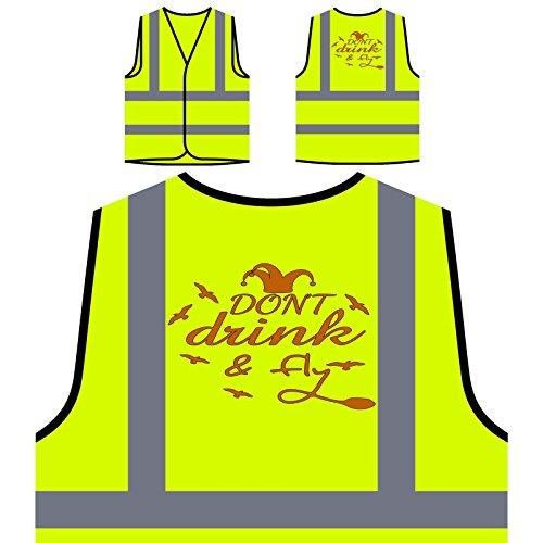 No tome y vuele la diversión de Wizzard Chaqueta de seguridad amarillo personalizado de alta visibilidad v857v