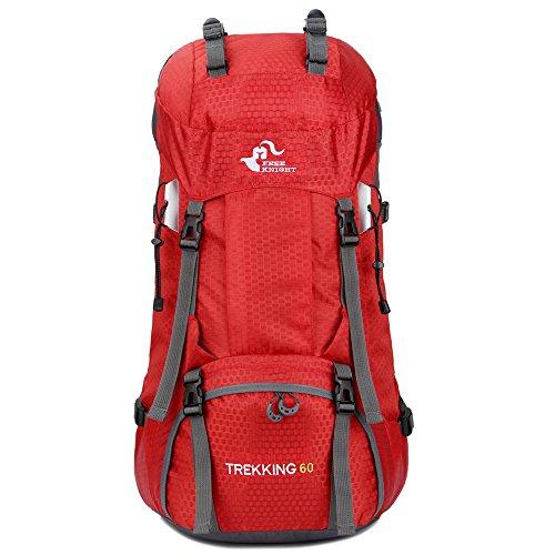 バックパック、SIMPLE DO 登山用バッグ ハイキングリュック レインカバー付き 大容量 収納性抜群 メンズ レディース バッグ 旅行 スポーツ 雨対策 60L