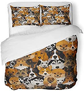 Emvency 3 Piece Duvet Cover Set Breathable Brushed Microfiber Fabric Bernese Dogs Different Breeds Boxer Corgi Mountain Puppy Afghan Animal Cartoon Bedding with 2 Pillow Covers Full/Queen Size