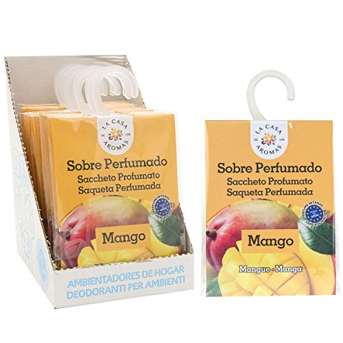 Sobres Perfumados, Bolsitas Aromáticas Aroma Mango, Saquitos para el Armario, Cajón, Ropa de Bebé, Zapatero, Maleta (Mango, 12 PCS)