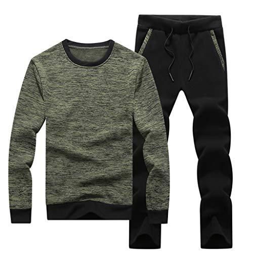 SUCES Herren Sportbekleidung Männer Kapuze Trainingsanzug Lange Ärmel Jogginganzug Bequem Fitness T-Shirt Hosen Set (Grün,M)