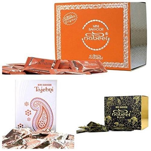 Lot de 3 MINI BAKHOOR NABEEL BLACK 3g Sachets Cadeau de Parfum Encens Maison Bakhoor