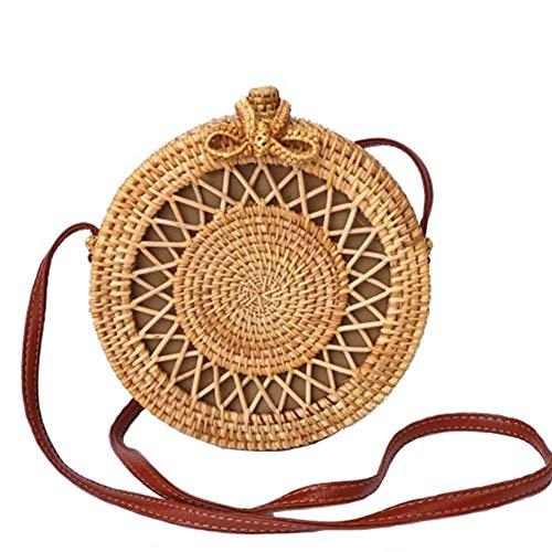 Bolso Redondo de ratán Tejido a Mano Bolsos Cruzados Bolso Tejido de Embrague Hecho a Mano for Mujeres (Color : UNA, Size : 20×8cm)