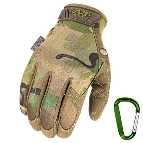 Mechanix WEAR ORIGINAL Einsatz-Handschuhe, atmungsaktiv & abriebfest + Gear-Karabiner, Original Glove in Schwarz, Coyote, Multicam/Größe S, M, L, XL (L, Multicam)