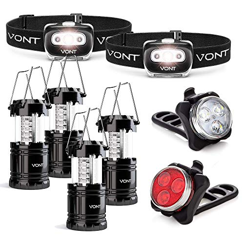 Vont 2-Pack Spark Headlamp + 4-Pack Lantern + Dual Bike Light Bundle - Complete Lighting Set for the Outdoorsy - Best Light Package for Camping, Bike, Hunting, Backpacking, Emergencies, and Outages