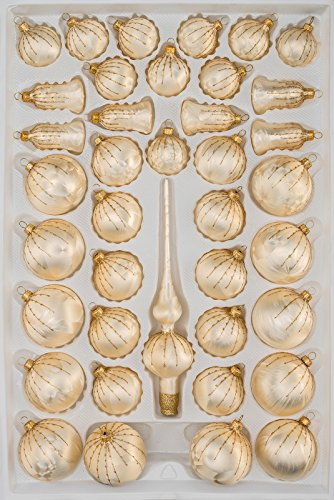 39 TLG. Glas-Weihnachtskugeln Set in Champagner Gold Regen- Christbaumkugeln - Weihnachtsschmuck-Christbaumschmuck