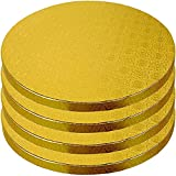 12 Inch Cake Boards - 4-Pack Cake Drums 12 Inch Dia. - Disposable Gold Cake Board Circles - Reusable Round Cake Boards - Cake Base Cardboard Cake Rounds - Cake Decorating Supplies & Baking Supplies