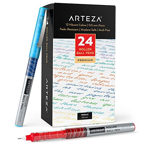 Arteza Bolígrafos de punta fina, paquete a granel de 24 bolis de colores de tinta líquida con punta de aguja extra fina de 0,5 mm para escribir, tomar notas y dibujar con precisión