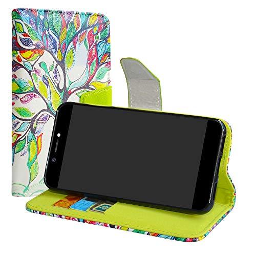 LiuShan Archos Core 50 Hülle, Brieftasche Handyhülle Schutzhülle PU Leder mit Kartenfächer & Standfunktion für Archos Core 50 Smartphone (mit 4in1 Geschenk verpackt),Love Tree