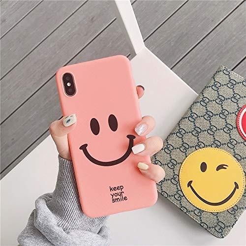 Xyamzhnn Caja del teléfono Sonriente Linda Cara de la Historieta TPU Funda Protectora for el iPhone 6 Plus y Plus st 6s (Color : Pink Color)