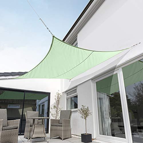 Kookaburra Tenda a Vela Verde Menta Impermeabile Protezione Anti Raggi 98% UV per Ombreggiare Il Giardino, Terrazzo o Balcone (Quadrata 3,6m)
