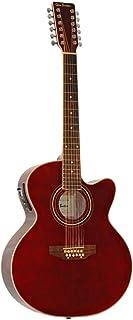 12 String Acoustic Electric Burgundy Cutaway Jumbo Guitar Combo w Gig Bag and Accesories. Guitarra