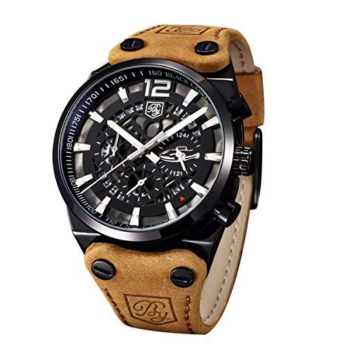 Reloj de Pulsera para Hombre con cronógrafo Militar, Cuarzo, Esfera Negra con Esqueleto Grande, Resistente al Agua, Reloj Militar, Piel marrón