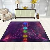 TIZORAX Alfombra de área de chakras, antideslizante, para comedor, sala de estar, dormitorio, 160 x 48 pulgadas, poliéster, Multicolor, 7'x5'