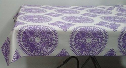 HomeSewBeautiful Handmade Designer Purple White Medallion Print Tablecloth Cotton Rectangle 54 X 70
