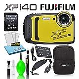 Fujifilm FinePix XP140 Waterproof Digital Camera (Yellow) Accessory Bundle...