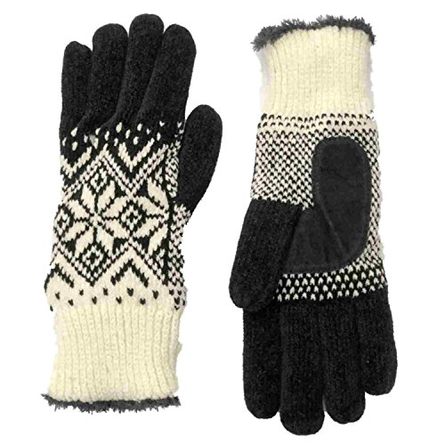 Isotoner Womens White & Black Snowflake Rayon Chenille Knit Gloves Microplush