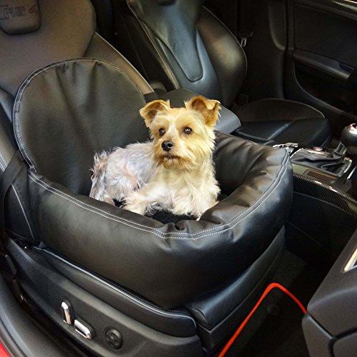 Knuffliger Leder-Look Autositz für Hund, Katze oder Haustier inkl. Gurt und Sitzbefestigung empfohlen für Seat Alhambra