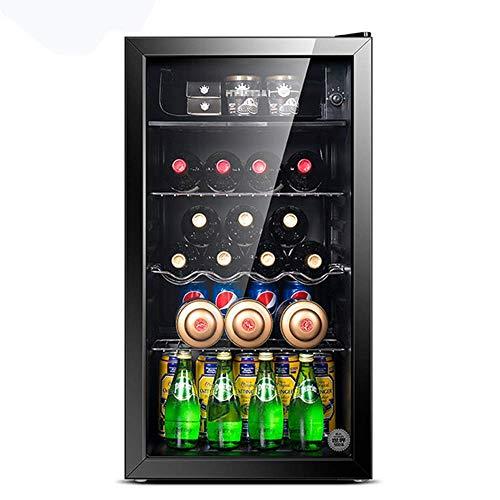 Enfriador de Bebidas / Refrigerato de Vino Pequeño, Mini Frigorífico Congelador Compacto, 39Db, Congelado + Refrigerado, Iluminación LED, Puerta de Cristal Marco Negro - Sala de Estar, Minibar, Bodega