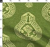 Grün, Medaillon, Damast, Renaissance, Vorhang Stoffe -