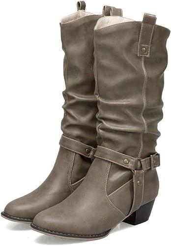 DANDANJIE femmes Combat bottes Bloc Talon mi-Mollet Bottes Boucle Haut Talon Pointu Bottes Chaussures (3 Couleurs)
