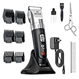 oneisall Dog Clippers,5-Speed Quiet Dog Grooming Kit,Cordless Low Noise Electric Pet Shaver Dog Hair Clippers,Professional Heavy Duty Trimmer with Wireless Rechargeable Stand Base for Dogs Cats Pets