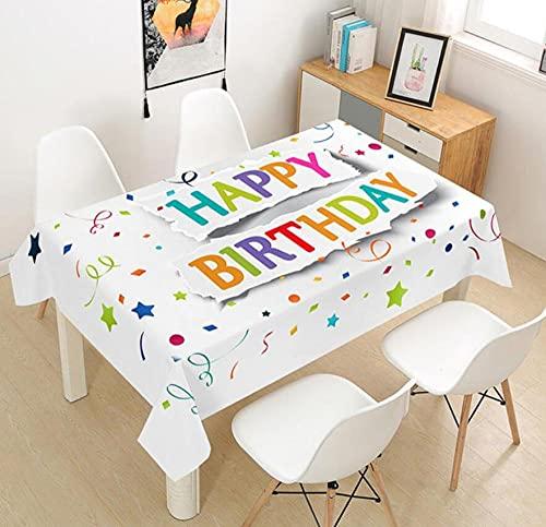 Yqgdss Feliz Cumpleaños Mantel 3D Diseño De Cocina Mesa De Comedor Mesa De Comedor Decoración De Cocina Comedor Familiar Actividades Interiores Al Aire Libre 90x90cm