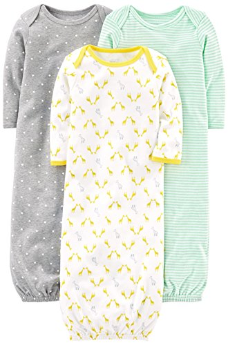 Simple Joys by Carter's Baby 3-Pack Cotton Sleeper Gown, Grey/White, Newborn