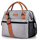 KINBON Lunch Bag Insulated Lunch Box for Women Men, Reusable Lunch Bag with Adjustable Shoulder Strap, Leak Proof Cooler Lunch Bag Water Resistant (Grey-Brown)