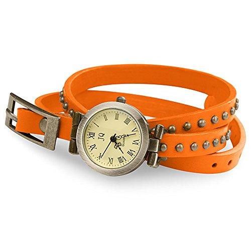 Taffstyle Damen-Armbanduhr Analog Quarz mit Leder-Armband Wickelarmband Uhr Vintage Orange Gold