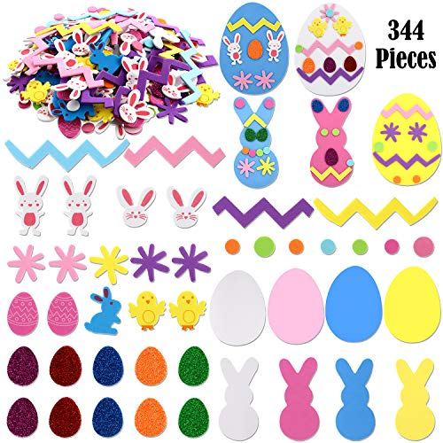Lowest Price! 344 Pieces Easter Foam Craft Kits Egg Foam Stickers Self-Adhesive Bunny Foam Stickers ...