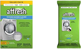 Affresh W10549846 Washing Machine Cleaner | Cleans Front Top Load Washers, Including HE, 5 Tablets & W10355053 Washing Machine Cleaner | Cleans Front Top Load Washers, Including HE, 24 Wipes, white