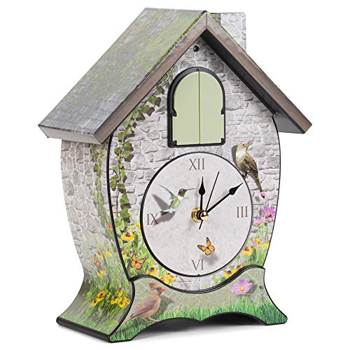 Mark Feldstein Garden Cottage Singing Cardinal Tabletop Wall Sound Cuckoo Clock