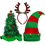 Aneco 3 Pack Christmas Hats Novelty Christmas Santa Hat Elf Hat Funny Hats