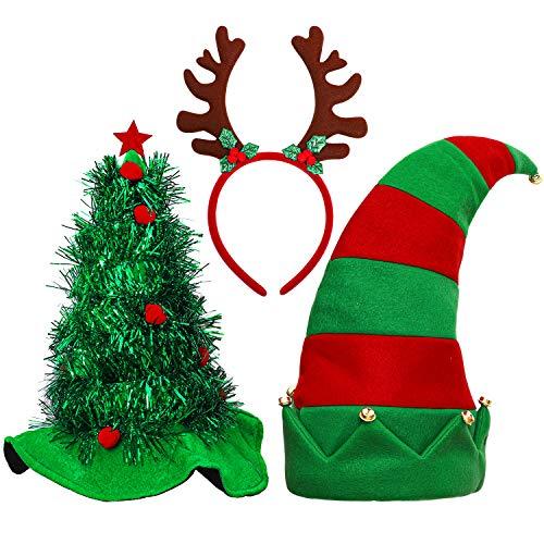 Aneco 3 Pack Christmas Hats Novelty Christmas Santa Hat Elf Hat Funny Hats