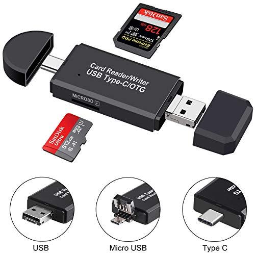 Lettore di schede SD,Micro SD/TF con adattatore USB maschio tipo C/Micro USB 3 in 1 e funzione OTG Lettore di schede di memoria portatili per laptop e smartphone e tablet