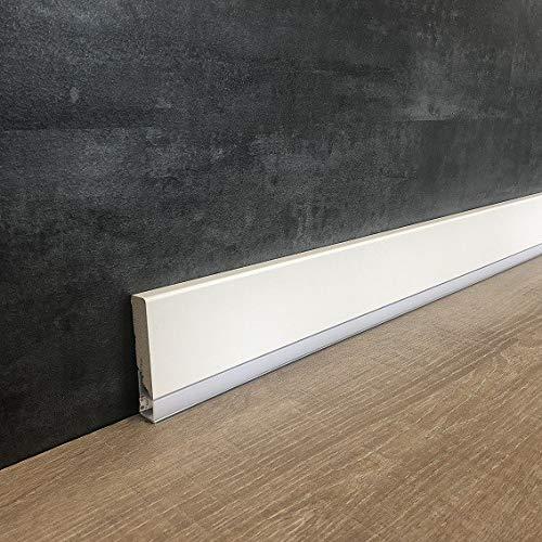 LED Sockelleiste 16 x 70 mm weiß foliert für indirekte Beleuchtung | Lichtleiste 70 mm | Moderner Lichtsockel 2.4 Meter länge