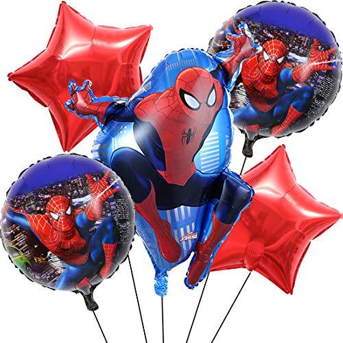 Miotlsy Globos de Cumpleaños Foil Helio Globo de Happy Birthday Decoración para Spider Man Homecoming Fiesta de Cumpleaños 5 Piezas