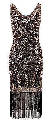 Morovigo Women's 1920s Gatsby Art Deco Beads Fringed Cocktail Flapper Dress
