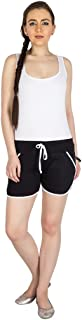 Campus Sutra Black Pro Solid Women's Chino Shorts with Tipping Black