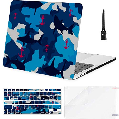 MacBook Pro 13 Inch Case Shark Anchor On Terrain Pattern Vector MacBook Air 13 Inch Case with Keyboard Cover Screen Protector Cleaning Brush