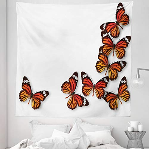 Ambesonne Butterflies Tapestry Queen Size Monarch Butterfly Flying Frame Insect Exotic Weather Wall Hanging Bedspread Bed Cover Wall Decor 88quot X 88quot Dark Brown